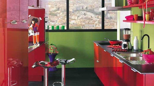 cuisine verte et rouge