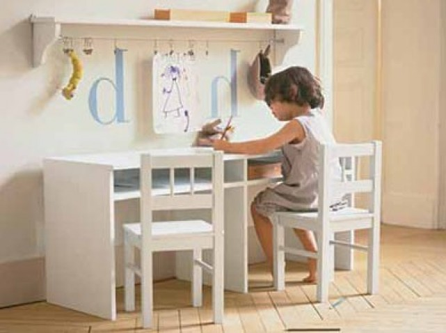 D co bureau fille for Bureau double enfant