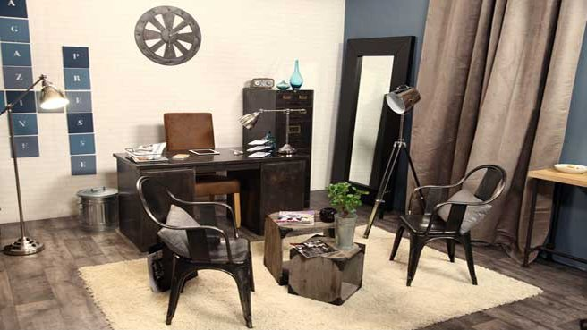 d coration bureau industriel. Black Bedroom Furniture Sets. Home Design Ideas