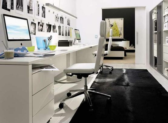 Idée décoration bureau noir et blanc