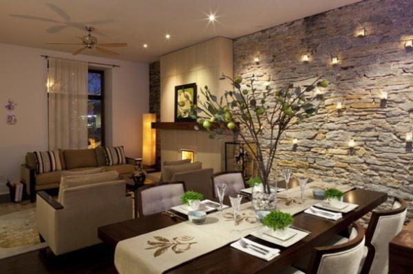belle déco salle à manger en pierre