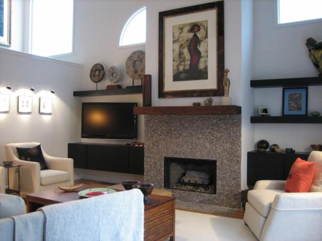d coration salon avec chemin e. Black Bedroom Furniture Sets. Home Design Ideas