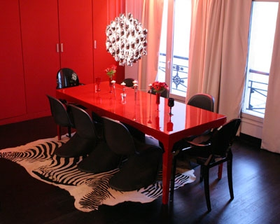 d co salle manger rouge et blanc. Black Bedroom Furniture Sets. Home Design Ideas