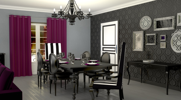 d coration salle manger tapisserie. Black Bedroom Furniture Sets. Home Design Ideas