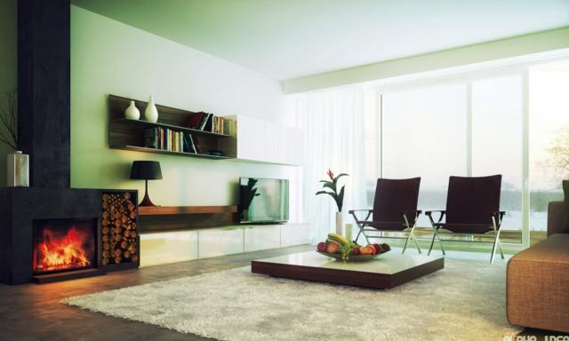 Chambre Bebe Fille Bleu : déco salon moderne avec cheminee