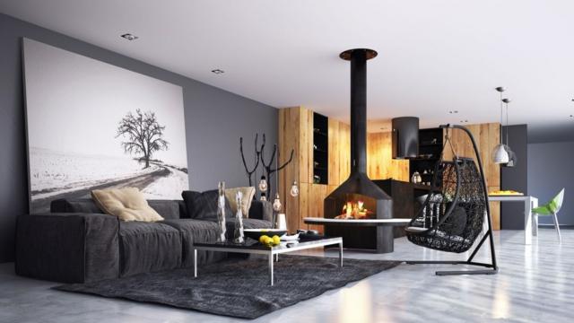 déco salon moderne avec cheminee