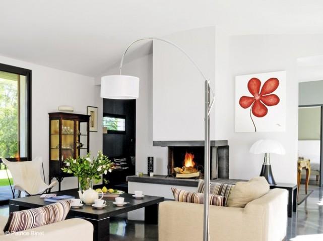 Deco Cheminée Moderne : Déco salon moderne avec cheminee