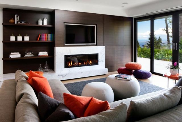 déco salon cheminée moderne - Photo Déco