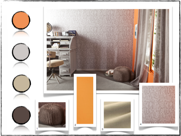 D co bureau orange for Bureau decoration d interieur