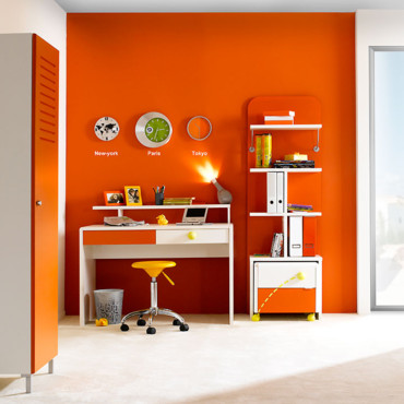 d co bureau orange. Black Bedroom Furniture Sets. Home Design Ideas