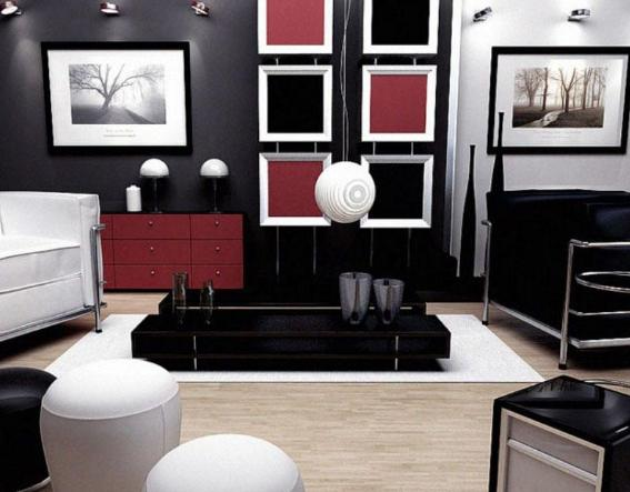 d coration bureau rouge et noir. Black Bedroom Furniture Sets. Home Design Ideas