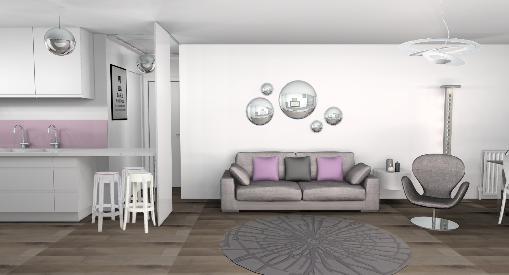 Photo decoration deco salle a manger mauve for Deco rose et gris salon