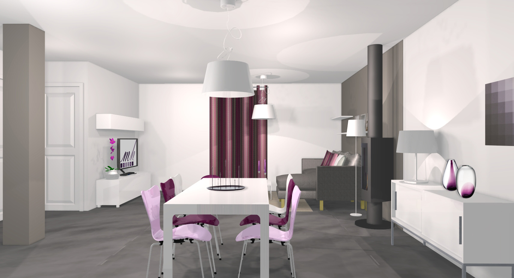 id e salle manger mauve. Black Bedroom Furniture Sets. Home Design Ideas