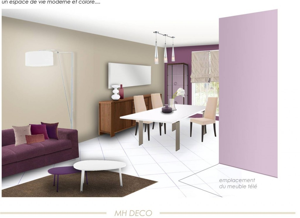 Mod le d coration salle manger violet for Modele deco salle a manger