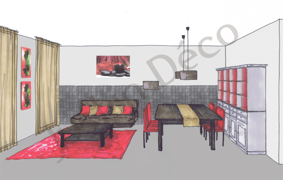 organisation décoration salon salle à manger zen