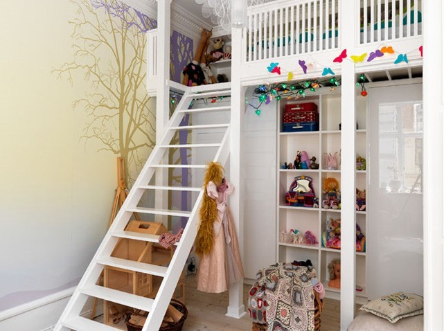 belle déco petite chambre avec mezzanine - Photo Déco