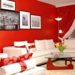 déco salon rideau rouge