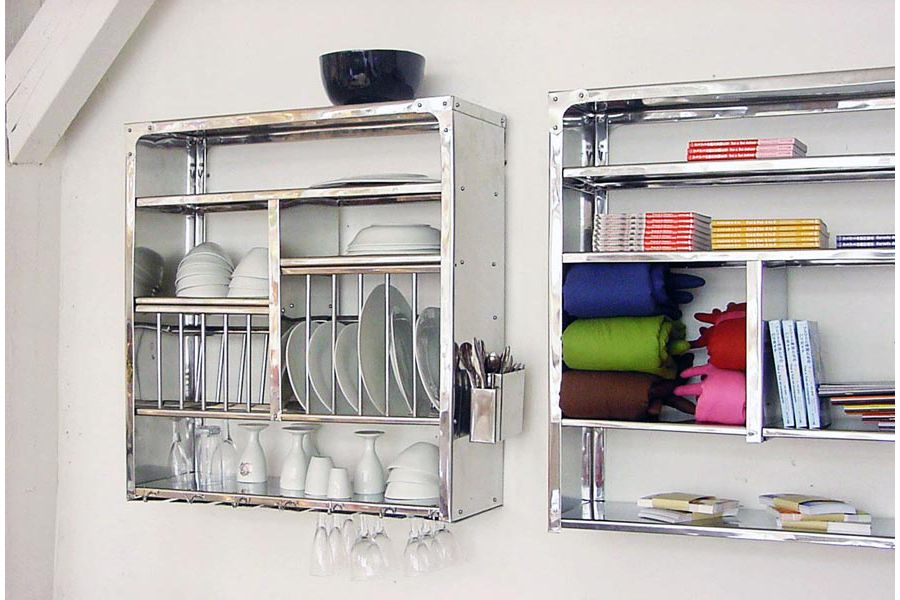 D co murale inox for Amenagement etagere cuisine