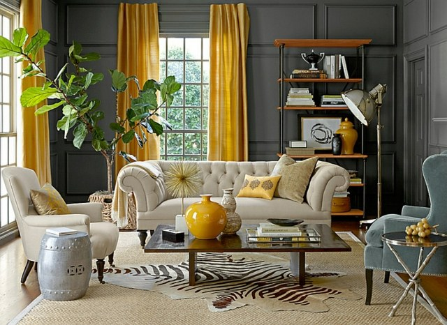 deco jaune moutarde et gris. Black Bedroom Furniture Sets. Home Design Ideas