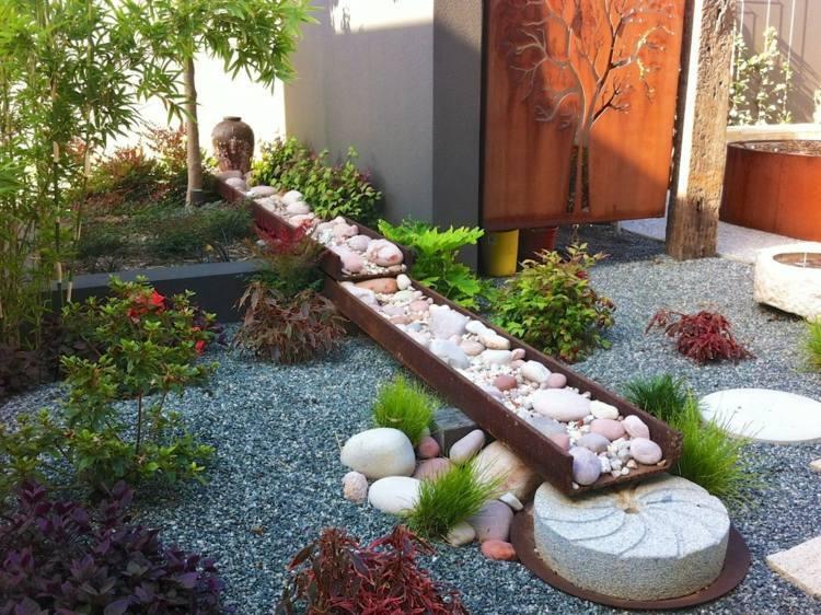 Assez Photo décoration jardin avec cailloux CP74