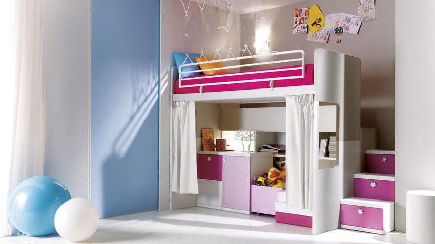 modèle déco chambre fille mezzanine - Photo Déco