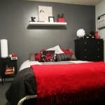 décoration studio rouge et noir